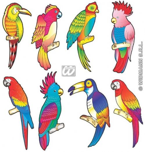 Tropical Bird Cutouts 8 Styles Decoration Hawaiian Exotic Pool Party